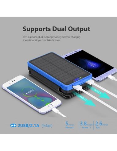 Power Bank Chargeur Solaire Batterie 26800mAh, 4 panneaux solaires, lampe de poche, deux ports USB 5V Bleu