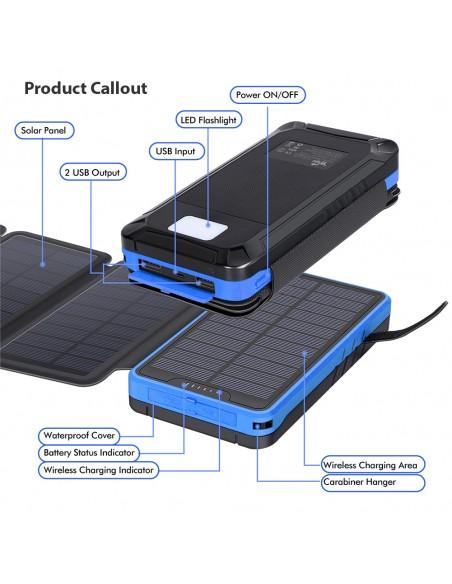 Chargeur Solaire Batterie PowerBank 26800mAh, 4 panneaux solaires, lampe de poche, deux ports USB 5V Bleu