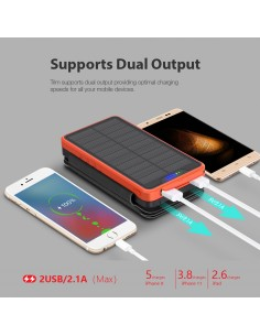 Chargeur Solaire Batterie PowerBank 26800mAh, 4 panneaux solaires, lampe de poche, deux ports USB 5V Orange