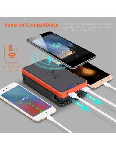 Chargeur à Induction sans Fil Solaire PowerBank 26800mAh, 3 panneaux solaires, lampe de poche, deux ports USB 5V Orange