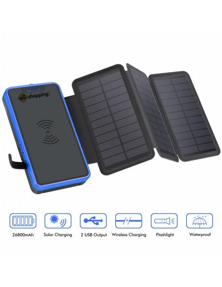 copy of Chargeur à Induction sans Fil Solaire PowerBank 26800mAh, 3 panneaux solaires, lampe de poche, deux ports USB 5V Bleu